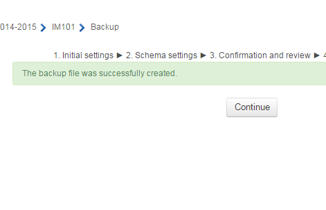 Screenshot of Moodle backup completed
