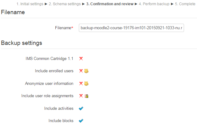 Screenshot of Moodle backup confirmation and review page