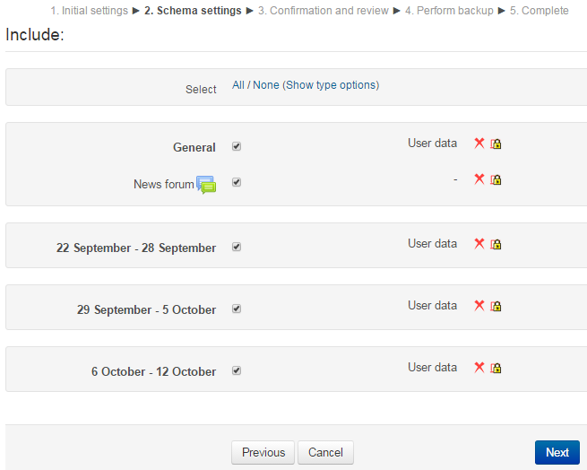 Screenshot of backup schema settings page