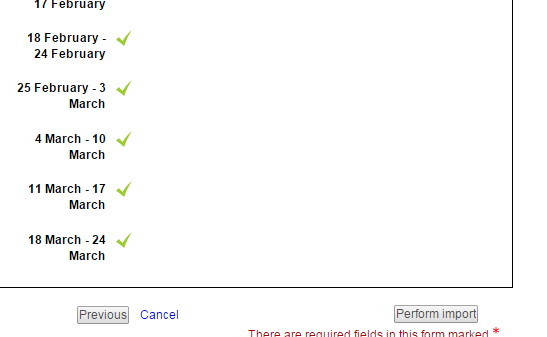 Screenshot of confirmation page of the import function