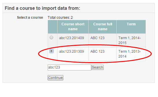 Screenshot of initial settings page of the import function
