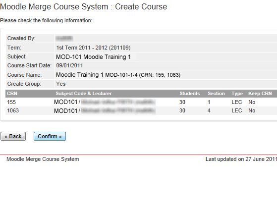 Screenshot of merge course confirmation page