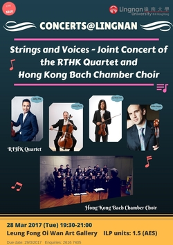 Strings and Voices - Joint Concert of the RTHK Quartet and Hong Kong Bach Chamber Choir poster