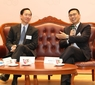 Mr Bernard Charnwut Chan and Mr Kevin Yeung Yun-hung discuss quality education at Lingnan University's Distinguished Leaders Dialogue