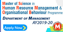 Master of Science in Human Resource Management & Organisational Behaviour Programme 2019-20