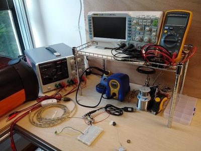 Electronics equipment on a workbench