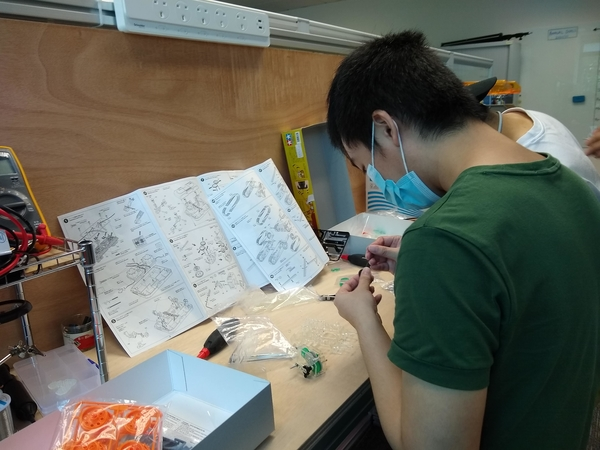 Students working at a workbench